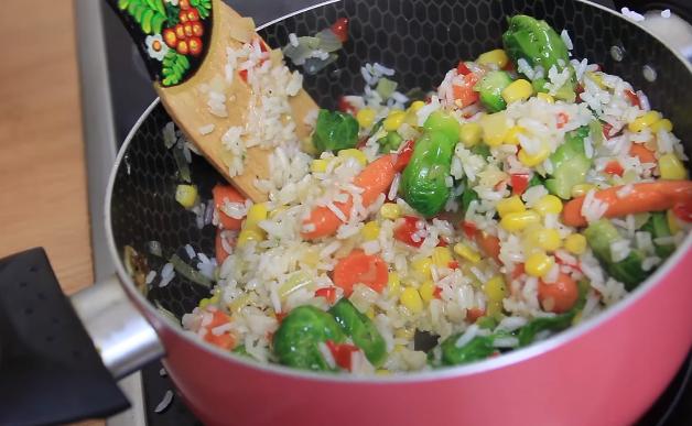 Домашний рецепт риса с овощами